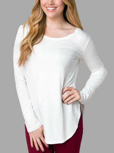 White Round Neck Shirt with Curved Hem Design