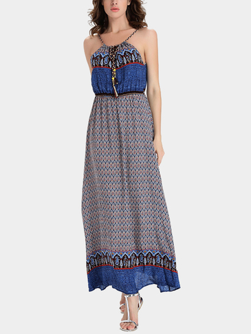Bohemia Style Cami Strap Maxi Dress In Random Floral Pattern