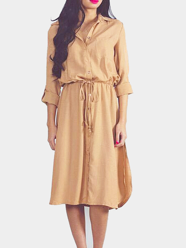 Lapel Long Sleeve Shirt Dress in Khaki