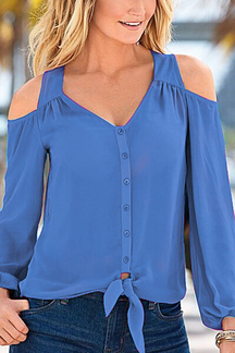 Blue Chiffon Cold Shoulder V-neck Long Sleeves Blouse