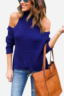 Navy High Neck Cold Shoulder Loose Jumper