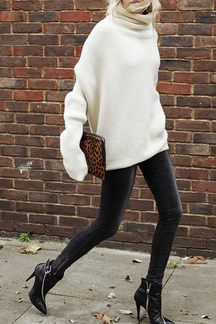 Beige High Neck Chunky Sweater