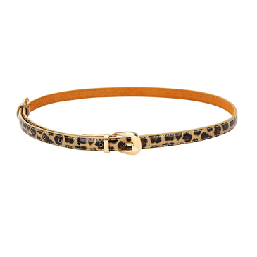 Leopard Smooth Leather-look Skinny Buckle Waist Belt with Metal Tip