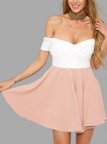 Off Shoulder Mini Dress with Zip Back Design