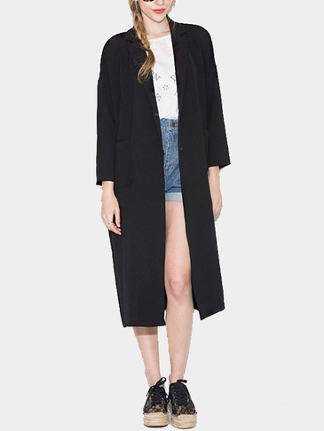 Black Long Sleeves Lapel Collar Trench Coat