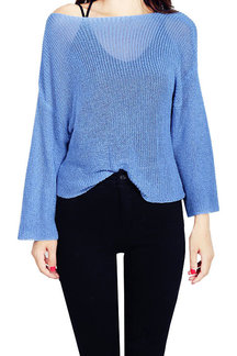 Blue Off Shoulder See-through Long Sleeves Jumper
