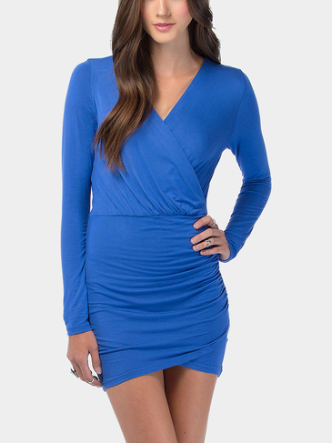 Blue Plunge V-Neck Wrap Mini Dress