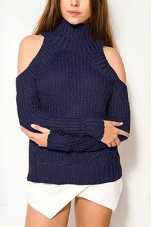 Deep Blue High Neck Cold Shoulder Jumper