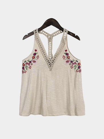 Sexy V-neck Embroidery Pattern Vest