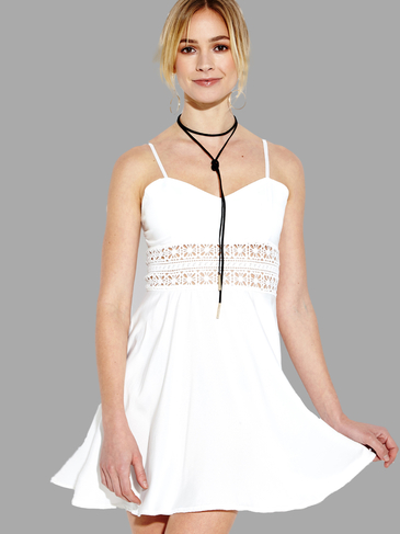 Hollow Out Cami Mini Dress in White