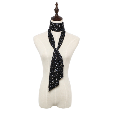 Polka Dot Silky-look Skinny Long Scarf in Black