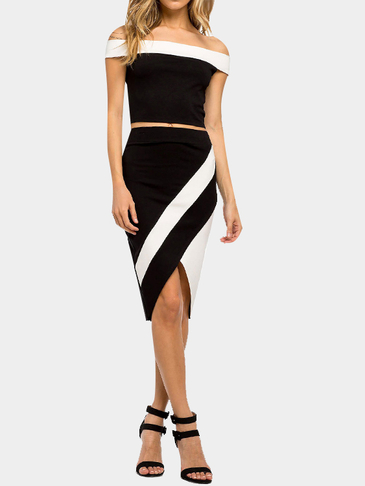 Sexy Off Shoulder Crop Top & Irregular Hem Midi Skirt Co-ord