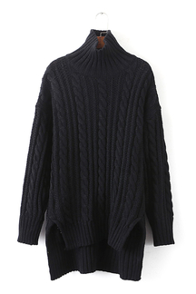 Longline Cable Knit Sweater in Black