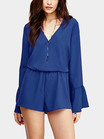 V Neck Bell Sleeve Playsuit in Blue