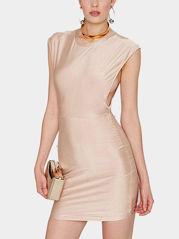 Sleeveless Low Armholes Mini Dress in Light Pink