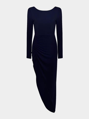 Navy Side Split Backless Maxi Dress with Irregular Hem