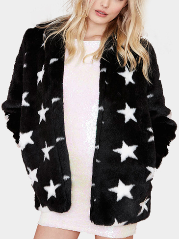 Fur Star Print Coat