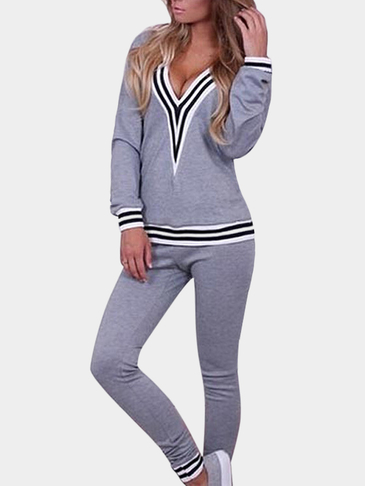 Stripe Sweatshirt & Sweatpants Co-ord in Grey