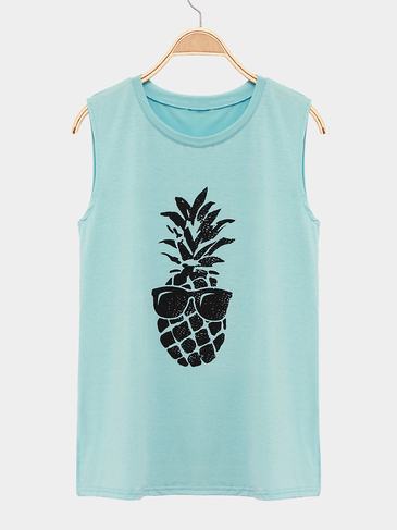 Green Round Neck Sleeveless Vest With Pineapple Pattern