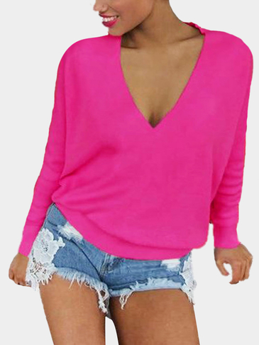 Sexy Velvet Details V Neck Top in Rose