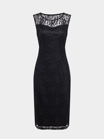 Black Sleeveless Body-Conscious Lace Midi Dress