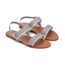 Gray Simple Leather Look Cross Strap Flat Sandals with Adjustable Buckle
