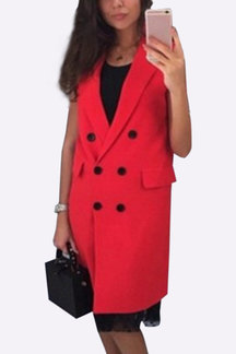 Red Fahsion Lapel Collar Gilet Outerwear With Double-breasted