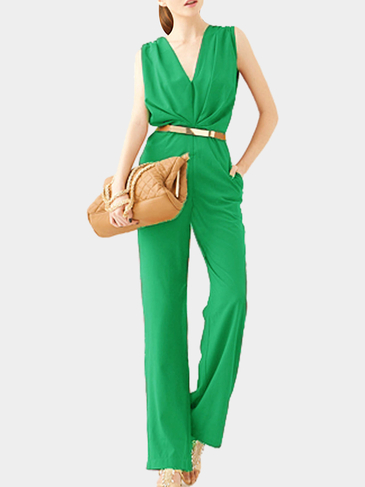 V-neck Sleeveless Jumpsuit in Green