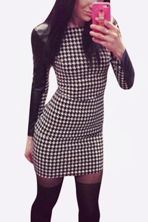 Sexy Fashion Round Neck Grid Pattern Long Sleeves Mini Dress