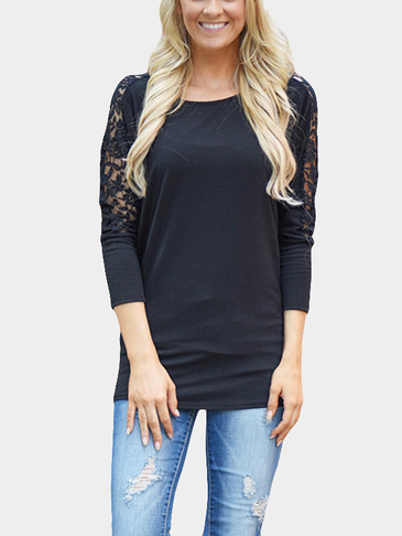 Black Back Lace Details Patchwork Medium Fit Blouse