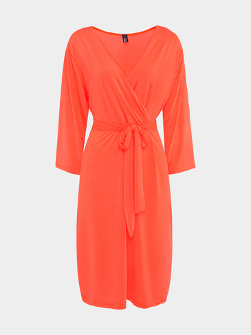 Plus Size Orange Wrap Dress