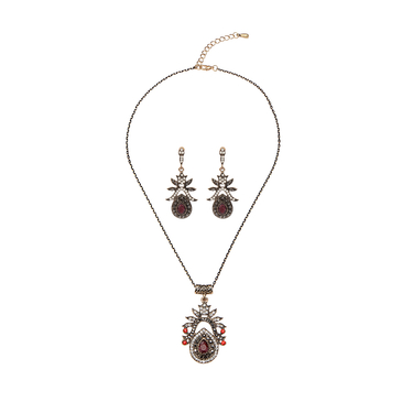 Ruby Embellishment Necklace & Earrings Set