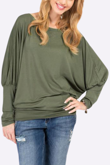 Army Green Casual Lightweight Scoop Neck Blouse