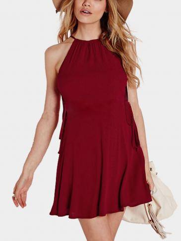 Burgundy Lace-up Cami Dress