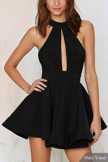 Black Halter Skater Dress