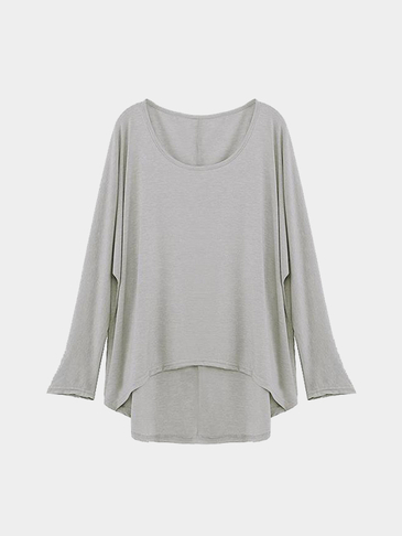 Long Sleeve Round Neck Loose Casual Blouse