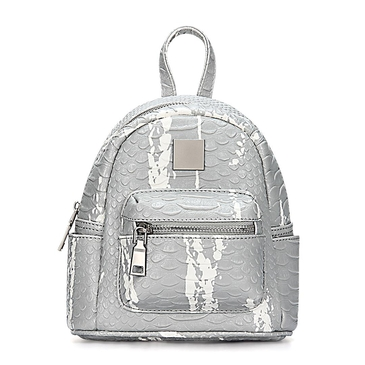 Grey Croc Leather-look Mini Backpack with Decorative Detailing