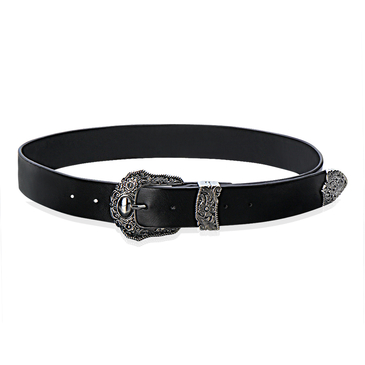 Engraved Skinny Belt with Embellished Details