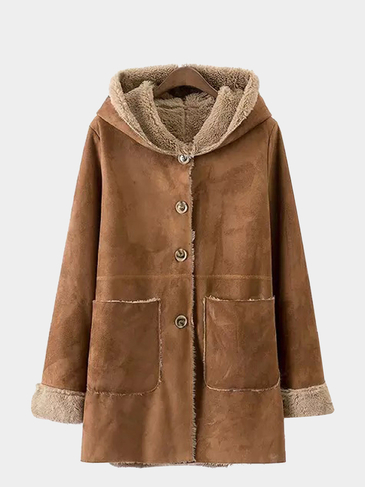 Suede Single Breast Hooded Coat