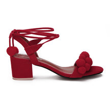 Red Suede Look Strap Across With Pompoms Lace-up Heeled Sandals