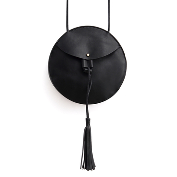 Round Mini Cross Body Bag in Black with Tassel