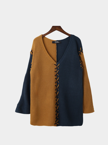 Blue And Brown Splicing Design V-neck Sweater
