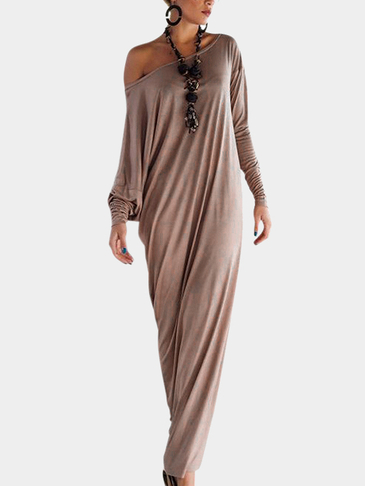 Khaki Pleated Side Split Long Sleeve Party Dress
