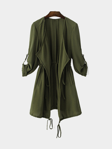 Army Green Chiffon Trench Coat With Drawstring Waist