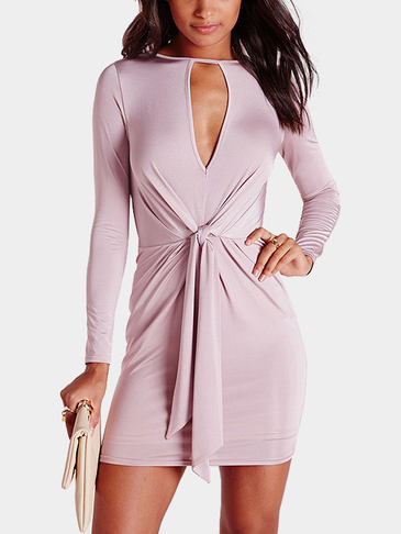 Knot Front Long Sleeve Bodycon Dress