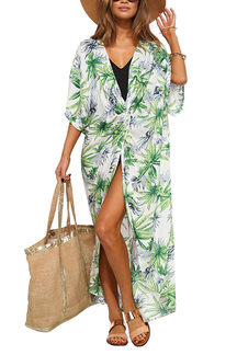 Bohemian Tropical Print Deep V Beach Dress
