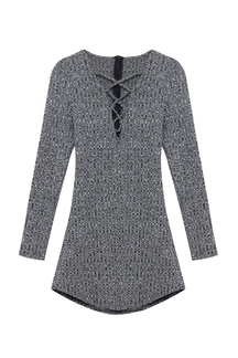 Grey Hollow Out Knitted Mini Dress