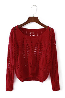 Red Hollow Out Long Sleeves Sweater