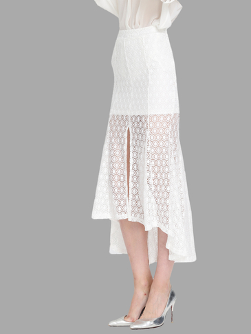 White Overlayed Lace Side Split Maxi Skirt
