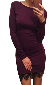 Burgundy Lace Splice Slim Fit Long Sleeve Dress